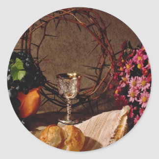 Red Communion, silver cup, grapes, flowers and cro Classic Round Sticker