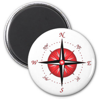 Red Compass Rose 2 Inch Round Magnet