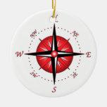 Red Compass Rose Ceramic Ornament