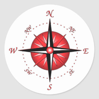 Red Compass Rose Classic Round Sticker