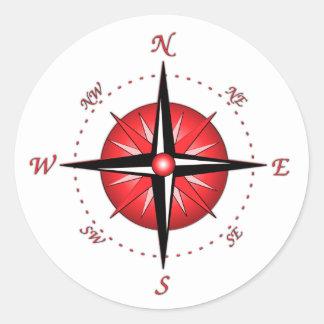 Red Compass Rose Classic Round Sticker