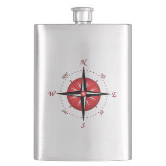Red Compass Rose Hip Flask