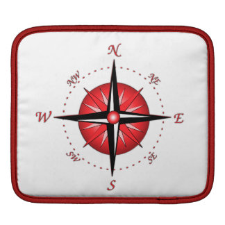 Red Compass Rose iPad Sleeves