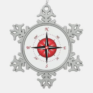 Red Compass Rose Ornament