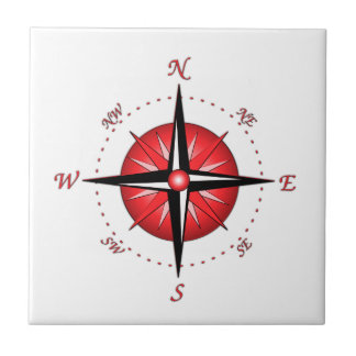 Red Compass Rose Tile