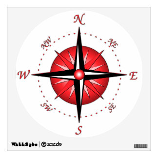 Red Compass Rose Room Graphic