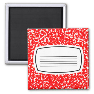 red composition book 2 inch square magnet