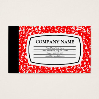 red composition book business card