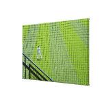 Red con el jugador de béisbol en hierba verde impresión en lona estirada