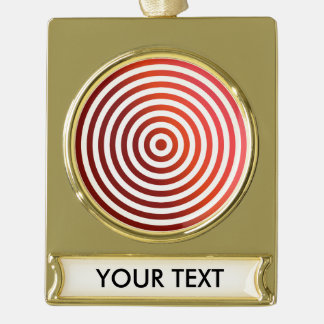 Red concentric circles gold plated banner ornament