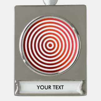 Red concentric circles silver plated banner ornament