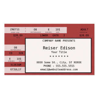 red concert ticket business card