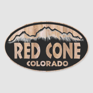 Red Cone Colorado wooden sign oval stickers