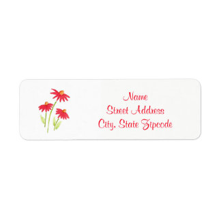 Red Coneflowers Label