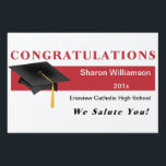 "Red Congratulations Graduation Yard Sign<br><div class=""desc"">Red Personalized Congratulations Graduation Yard Sign.</div>"