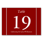 [ Thumbnail: Red, Conservative, Low-Key Table Number Card ]