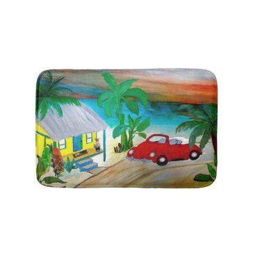 Beach Themed Red convertible beach bug surf hut bathmat