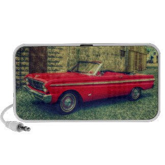Red Convertible Collector Car Downtown Laptop Speakers
