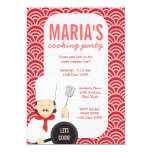 """Red Cooking Chef Kitchen Party Invite 5"""" X 7"""" Invitation Card"""