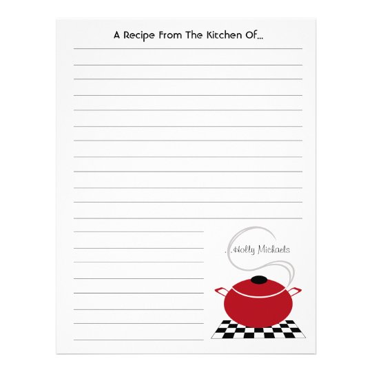 Red Cooking Pot From The Kitchen Of... Letterhead