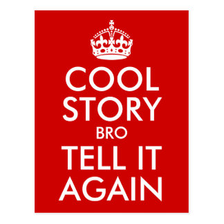 Red Cool Story Bro Tell It Again Postcard