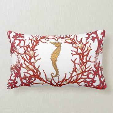 Beach Themed Red Coral American MoJo Pillow