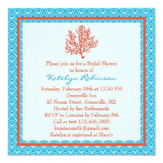 Red Coral Bridal Shower Invitation
