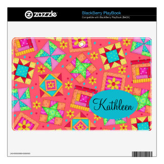 Red Coral Colorful Patchwork Quilt Block Custom BlackBerry PlayBook Skin