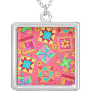 Red Coral & Colorful Quilt Patchwork Blocks Square Pendant Necklace