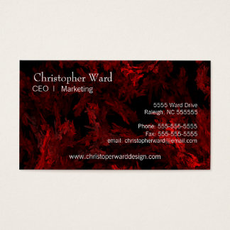 Red Coral Fractal Flame Business Card