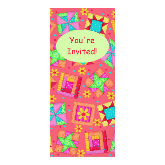 Red Coral Green Patchwork Quilt Block Art Card