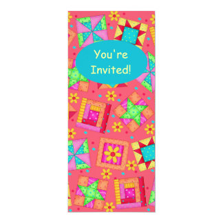 Red Coral Green Patchwork Quilt Block Art 4x9.25 Paper Invitation Card