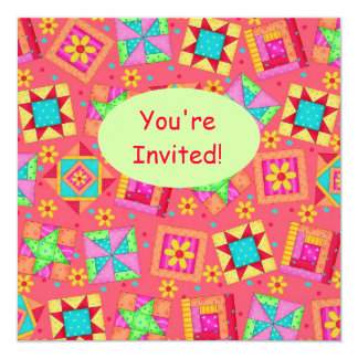 Red Coral Green Patchwork Quilt Block Art 5.25x5.25 Square Paper Invitation Card