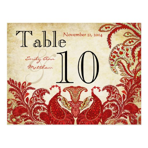 Red Coral Lime Paisley Wedding Table Number Postcard