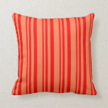 [ Thumbnail: Red & Coral Lined Pattern Throw Pillow ]