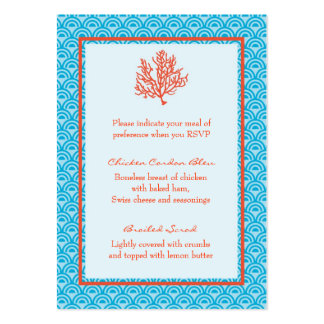 Red Coral Menu Selection Card Large Business Cards (Pack Of 100)