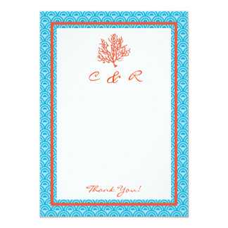 Red Coral Monogram Thank You Card
