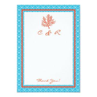 Red Coral Monogram Thank You Card Custom Invitation