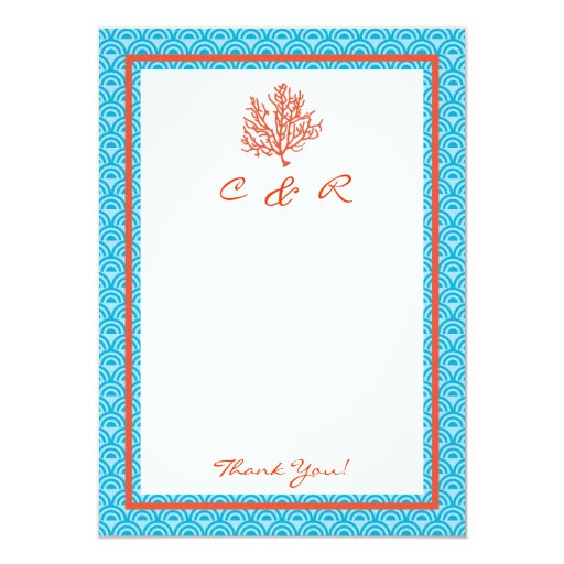 """Red Coral Monogram Thank You Card 4.5"""" X 6.25"""" Invitation Card"""