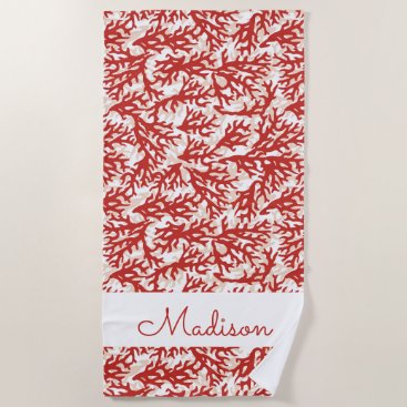Beach Themed Red Coral Pattern Beach Towel
