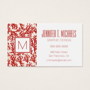 Beach Themed Red Coral Pattern Business Card
