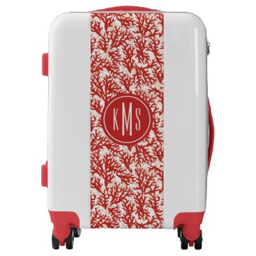 Beach Themed Red Coral Pattern | Monogram Luggage