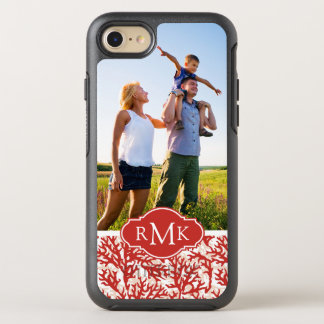 Red Coral Pattern | Your Photo & Monogram OtterBox Symmetry iPhone 7 Case