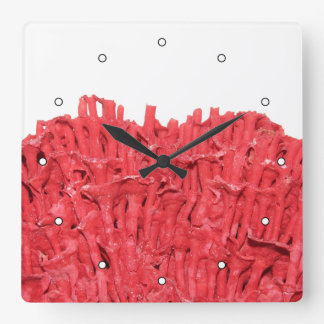 Red Coral Picture. Square Wall Clock