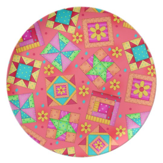 Red Coral Quilt Block Art Plate