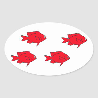 Red Coral Reef Fish Oval Sticker