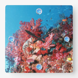 Red Coral Reef Square Wall Clock