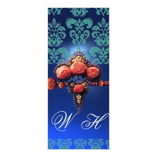 RED CORAL ROSES,AQUA BLUE BLACK DAMASK MONOGRAM CARD