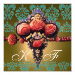 RED CORAL ROSES,BLACK GREEN YELLOW DAMASK MONOGRAM CARD