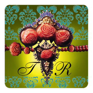 RED CORAL ROSES,BLACK GREEN YELLOW DAMASK MONOGRAM 5.25X5.25 SQUARE PAPER INVITATION CARD